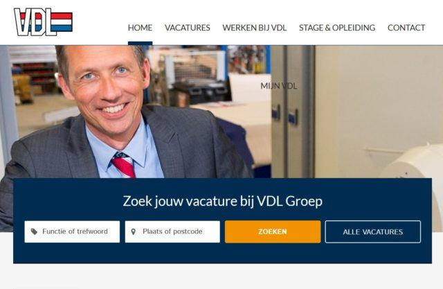 werken bij vdl website