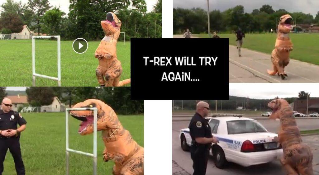 Humor: vrouwelijke T-Rex moet selectie bij de Amerikaanse politie uitleggen