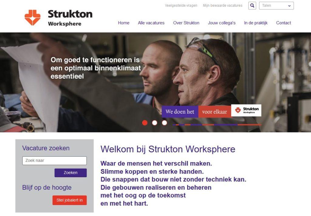 Bouwen kunnen ze bij Strukton (Worksphere), maar ook een recruitmentsite?