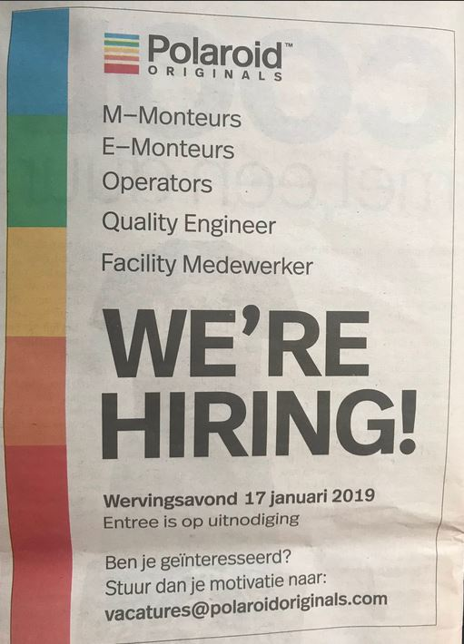 polaroid were hiring