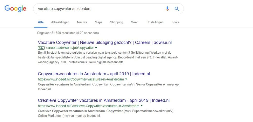 vacature indeed google for jobs