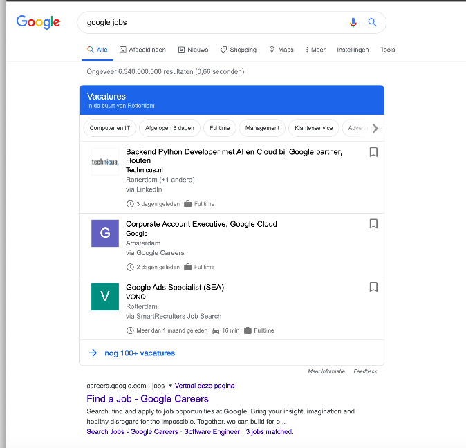 google for jobs in nederland
