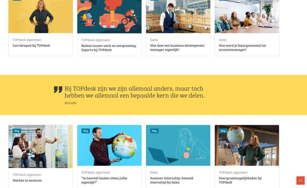 De 'Epic Journey'-verhalenpagina van TOPdesk Careers (inzending TOPdesk)