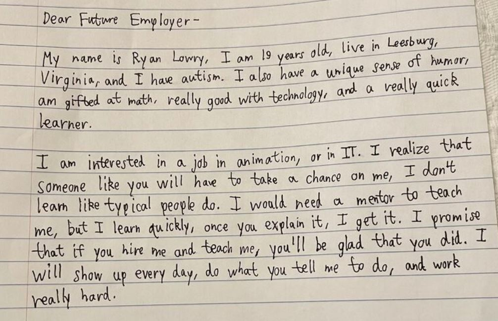 Feel Good Friday: De handgeschreven sollicitatiebrief waarmee een jong (en autistisch) talent viraal ging